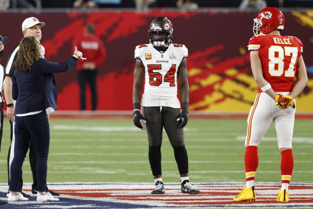 Tampa Bay Buccaneers linebacker Lavonte David (54) recorded 117 total tackles and an interception in 16 games last season. File Photo by John Angelillo/UPI