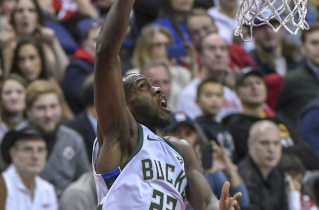 Milwaukee Bucks forward Khris Middleton totaled 38 points, 11 rebounds and seven assists in a win over the Atlanta Hawks in Game 3 of the Eastern Conference Finals on Sunday in Atlanta. File Photo by Mark Goldman/UPI