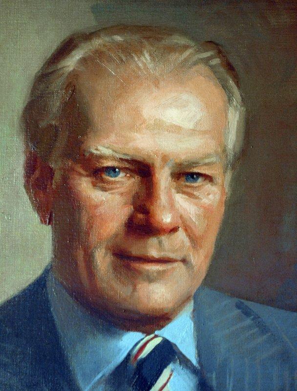 Portraid of Former President Gerald R. Ford painted by Everett Raymond Kinstler in 1977. (UPI Photo/Roger L. Wollenberg)
