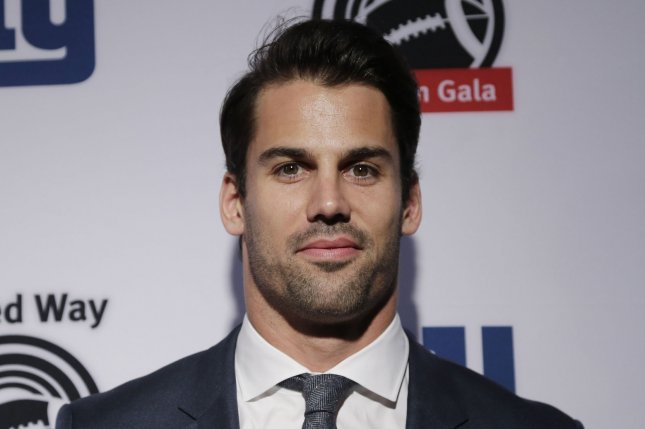 Eric Decker arrives on the red carpet at the XXIII Gridiron Gala at New York Hilton Midtown on May 10, 2016 in New York City. Photo by John Angelillo/UPI