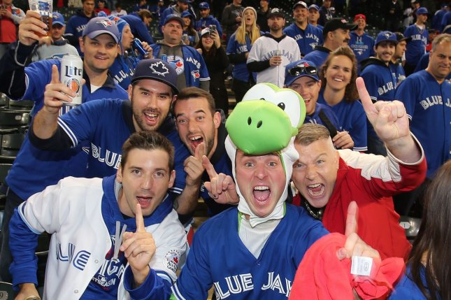 Toronto Blue Jays fans get in the spirit before the start of the American League Championship Series at Progressive Field in Cleveland, Ohio on October 14, 2016. Photo by Aaron Josefczyk/UPI