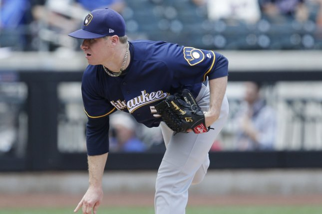 Milwaukee Brewers starting pitcher Chase Anderson throws a pitch in the first inning against the New York Mets at Citi Field in New York City on June 1, 2017. File photo by John Angelillo/UPI