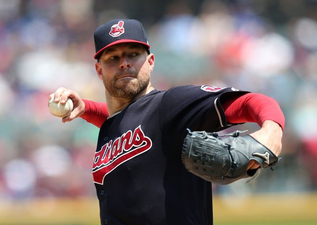 Corey Kluber and the Cleveland Indians continued to roll Thursday with their 15th straight win. Photo by Aaron Josefczyk/UPI