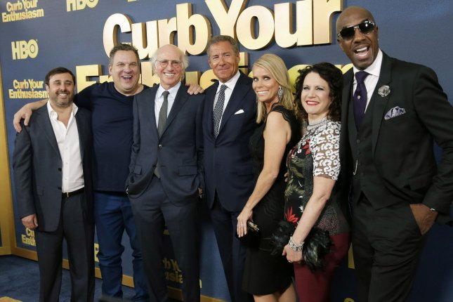 Jeff Schaffer, Jeff Garlin, Larry David, Richard Plepler, Cheryl Hines, Susie Essman and J. B. Smoove arrive on the red carpet at the Curb Your Enthusiasm Season 9 premiere on September 27 in New York City. File Photo by John Angelillo/UPI
