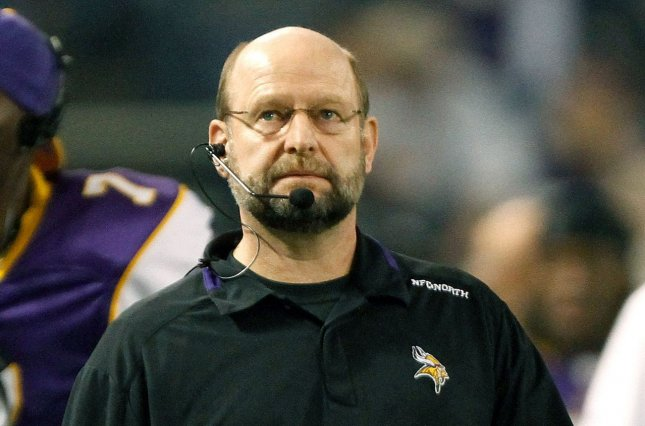 Former Minnesota Vikings head football coach Brad Childress looks on against the Chicago Bears on January 17, 2010 at Soldier Field in Chicago. File photo by Brian Kersey/UPI