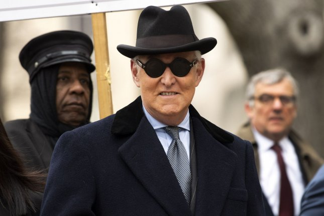 Roger Stone arrives for his sentencing hearing Thursday at the E. Barrett Prettyman Courthouse in Washington, D.C. Photo by Kevin Dietsch/UPI