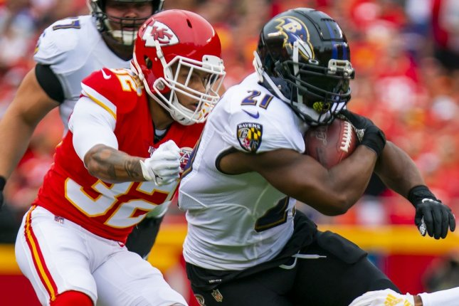 Baltimore Ravens running back Mark Ingram (R) should be a draft-day value for your fantasy football squad based on an easy schedule to start the season. File Photo by Kyle Rivas/UPI