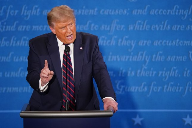 President Donald Trump speaks on Tuesday night during the first presidential debate with Democratic presidential nominee Joe Biden, at Case Western Reserve University in Cleveland, Ohio. Photo by Kevin Dietsch/UPI