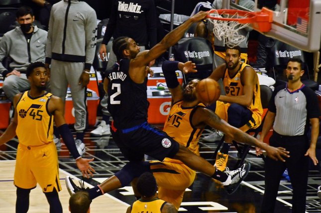 Los Angeles Clippers forward Kawhi Leonard (2) has been sidelined since Game 4 of the Clippers' second-round series against the Utah Jazz on June 14. Photo by Jim Ruymen/UPI