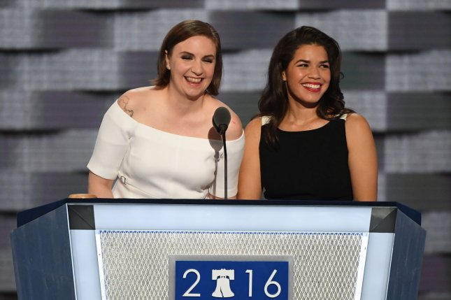 Actresses Lena Dunham (L) and America Fererra rip on Donald Trump while speaking on day two of the Democratic National Convention at the Wells Fargo Center in Philadelphia, Pa. on July 26, 2016. Photo by Pat Benic/UPI
