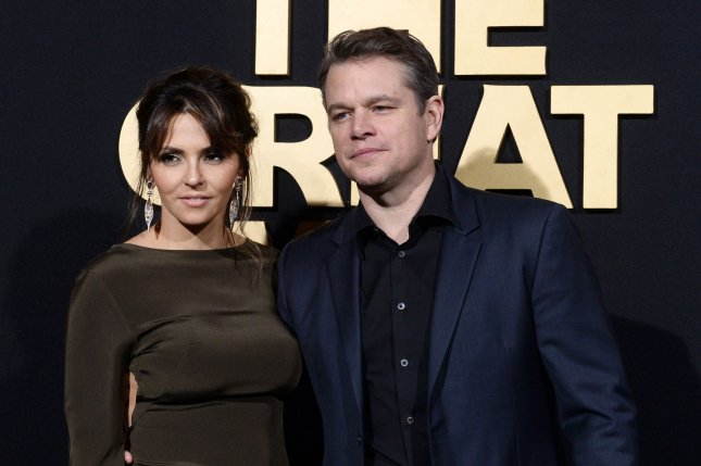 Matt Damon (R) and wife Luciana Barroso at the Los Angeles premiere of The Great Wall on Wednesday. Photo by Jim Ruymen/UPI
