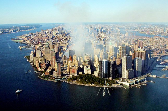Sheikh Omar Abdel Rahman, convicted for masterminding the 1993 World Trade Center bombing and foiled terror plots in New York City, died Saturday. Pictured: Smoke continues to rise from the destroyed World Trade Center on September 15, 2001, in New York. Pool Photo by Keith Myers/UPI