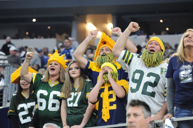 Green Bay Packers fans cheer in the NFC divisional playoff game against the Dallas Cowboys at AT&T Stadium in Arlington, Texas on January 15, 2017. File photo by Ian Halperin/UPI
