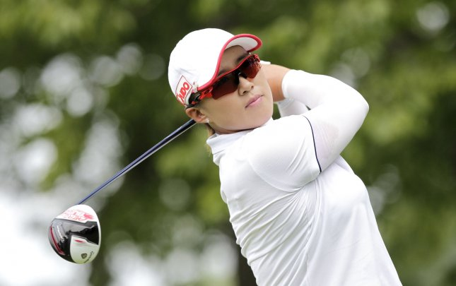 Amy Yang was tied for the early lead at the Women's PGA Championship on Thursday. Photo by John Angelillo/UPI