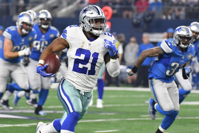 Dallas Cowboys RB Ezekiel Elliott scores on a 55-yard touchdown against the Detroit Lions during the first half at AT&T Stadium on December 26 in Arlington, Texas. File photo by Ian Halperin/UPI