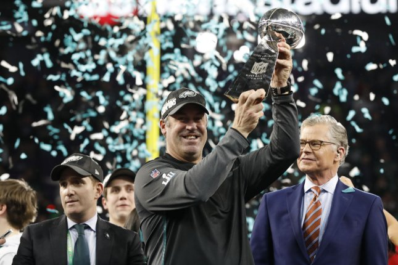 Philadelphia Eagles head coach Doug Pederson holds up the Vince Lombardi Trophy after Super Bowl LII on Sunday night at U.S. Bank Stadium in Minneapolis, Minnesota. File photo by John Angelillo/UPI