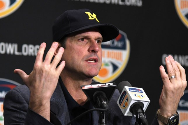 Michigan Wolverines coach Jim Harbaugh. File photo by Gary I Rothstein/UPI