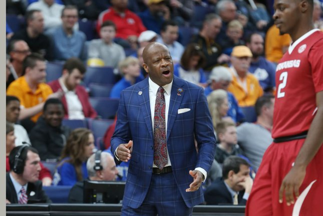 Arkansas head basketball coach Mike Anderson made the NCAA tournament three times in eight seasons, leading to his firing. File Photo by Bill Greenblatt/UPI