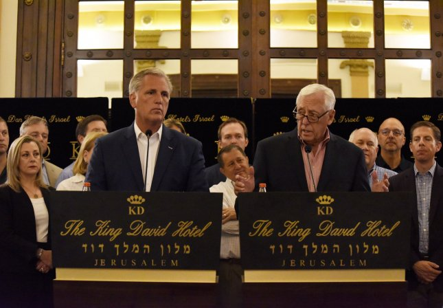 U.S. House Republican Leader Kevin McCarthy (L) and House Democratic Leader Steny Hoyer conduct a news conference in the King David Hotel in Jerusalem while leading a bipartisan group of more than 70 representatives. Photo by Debbie Hill/UPI