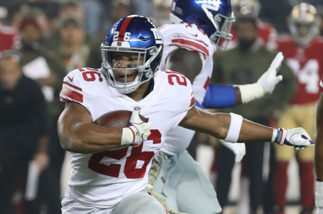 New York Giants running back Saquon Barkley suffered a high ankle sprain during the Giants' matchup against the Tampa Bay Buccaneers. File Photo by Terry Schmitt/UPI