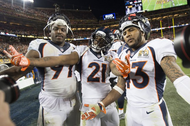 Former Denver Broncos safety T.J. Ward (43) was a starter in the Broncos' famed No Fly Zone secondary, which helped the franchise beat the Carolina Panthers in Super Bowl 50. File Photo by Kevin Dietsch/UPI