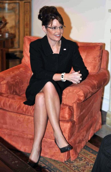 Republican Vice Presidential candidate Sarah Palin, shown in a meeting with Colombian President Alvaro Uribe Sept. 23, 2008. (UPI Photo/Paul Martinka/POOL)