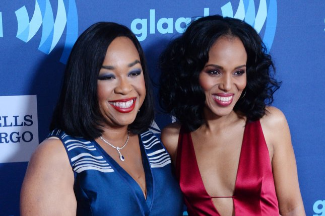 Screenwriter Shonda Rhimes (L) and actress Kerri Washington attend the 26th annual GLAAD Media Awards at the Beverly Hilton Hotel in Beverly Hills, Calif., on March 21, 2015. Rhimes, Washington and tens of other actors from Scandal, Grey's Anatomy and How To Get Away With Murder reunited ahead of the new season for a memorable group photo. File Photo by Jim Ruymen/UPI