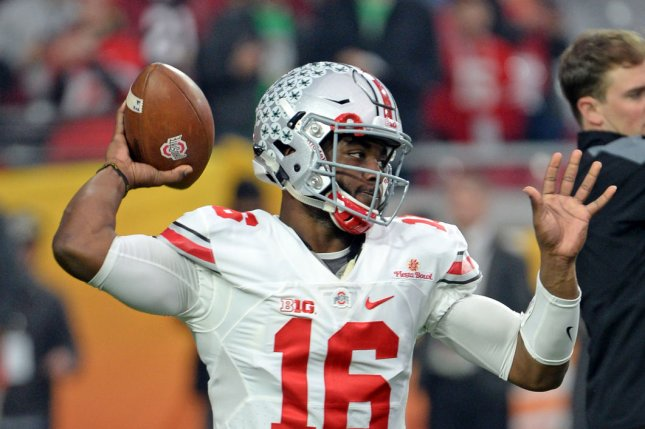 Ohio State quarterback J. T. Barrett. Photo by Art Foxall/UPI