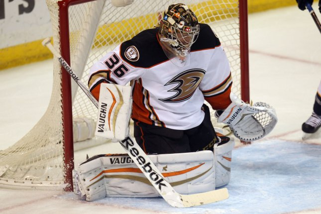 Anaheim Ducks goaltender John Gibson stopped 37 shots and Joseph Cramarossa scored as the Anaheim Ducks shut out the Minnesota Wild 1-0 on Tuesday. File Photo by Bill Greenblatt/UPI