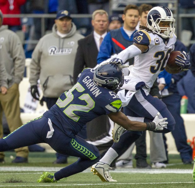 Seattkle Seahawks linebacker Terecen Garvin attempts to tackle Los Angeles Rams running back Todd Gurley during their game in December. Garvin reportedly is headed to the Miami Dolphins. Photo by Jim Bryant/UPI