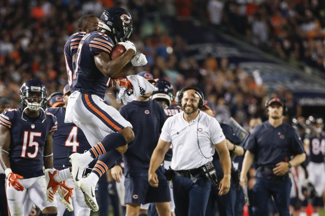Anthony Miller (17) celebrates with Eddie Jackson (39) of the Chicago Bears after scoring a touchdown against the Seattle Seahawks during the second half at Soldier Field in Chicago on September 17, 2018. Photo by Kamil Krzaczynski/UPI