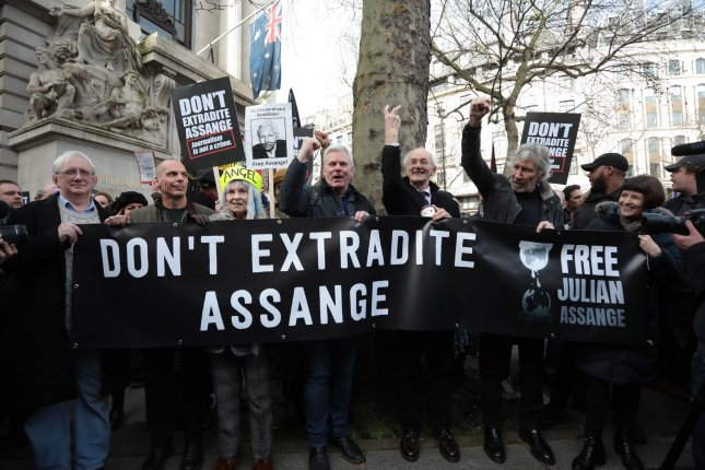 The trial to extradite Julian Assange begins on Monday in London. Photo by Hugo Philpott/UPI