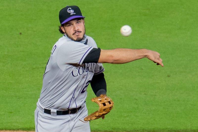 Colorado Rockies third baseman Nolan Arenado has earned a Gold Glove Award in each of his eight MLB seasons. File Photo by Trask Smith/UPI
