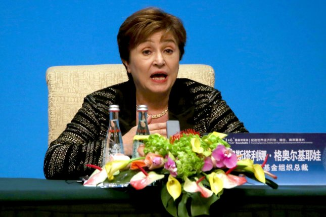 The International Monetary Fund Managing Director Kristalina Georgieva addresses the media during the Fourth 1+6 Round Table Dialogue in Beijing on November 21, 2019. Georgieva said Tuesday she expects a stronger global economic recovery with the United States passing its stimulus placage. Photo by Stephen Shaver/UPI