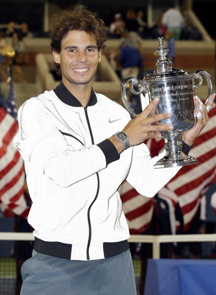 Rafael Nadal, shown after winning the 2013 U.S. Open, can claim the year-end ATP No. 1 ranking with two wins this week at the ATP World Tour Finals in London. UPI/John Angelillo