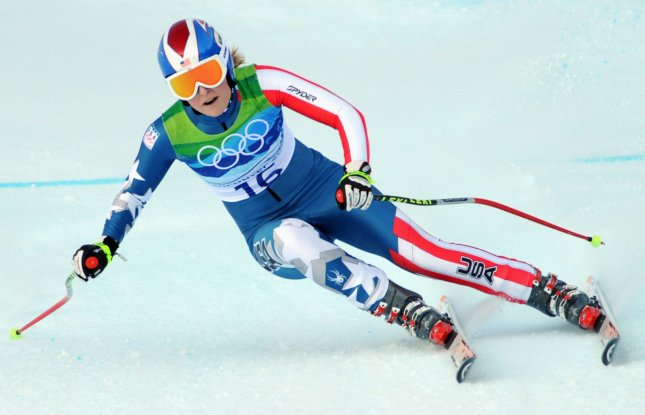 USA's Lindsey Vonn speeds down the Women's Alpine Downhill course at Whistler Creekside at the Winter Olympics on February 17, 2010. Vonn won the gold medal in a time of 1:44.19. Teammate Julia Mancuso won the silver medal and Austria's Elisabeth Goergl won the bronze. UPI/Pat Benic