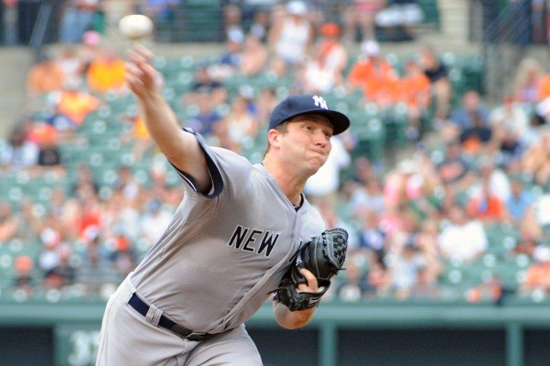 New York Yankees starting pitcher Adam Warren (43). UPI/Mark Goldman