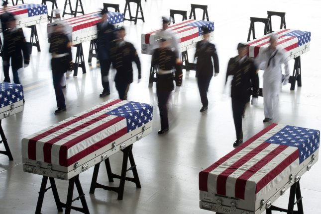 Remains of U.S. troops from the Korean War were returned to the United States by North Korea last year in flag draped coffins. But the Pentagon program to get more remains stopped after North Korea stopped communicating. Photo by Staff Sgt. Mikaley Kline/U.S. Air Force