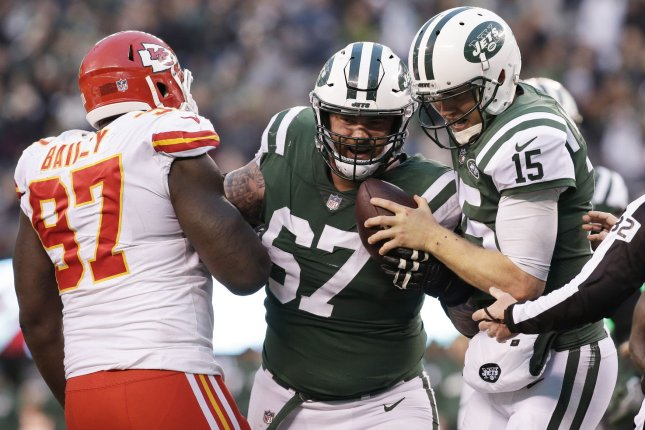 New York Jets offensive lineman Brian Winters (67) re-dislocated a shoulder in Sunday's win over the New York Giants and could require surgery. File Photo by John Angelillo/UPI