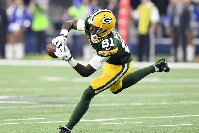 Former Green Bay Packers wide receiver Geronimo Allison had 34 receptions last season. File Photo by Shane Roper/UPI