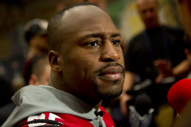 Vernon Davis became the latest celebrity eliminated from Dancing with the Stars in Los Angeles on Monday night. File Photo by Kevin Dietsch/UPI