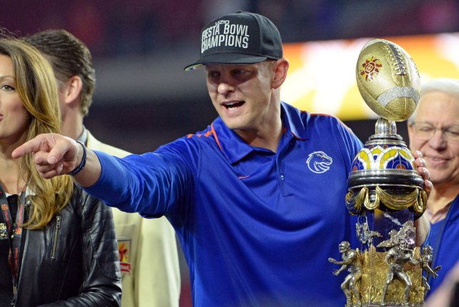 Former Boise State Broncos head coach Bryan Harsin posted a 69-19 record and won three Mountain West titles in seven seasons at the school. File Photo by Art Foxall/UPI