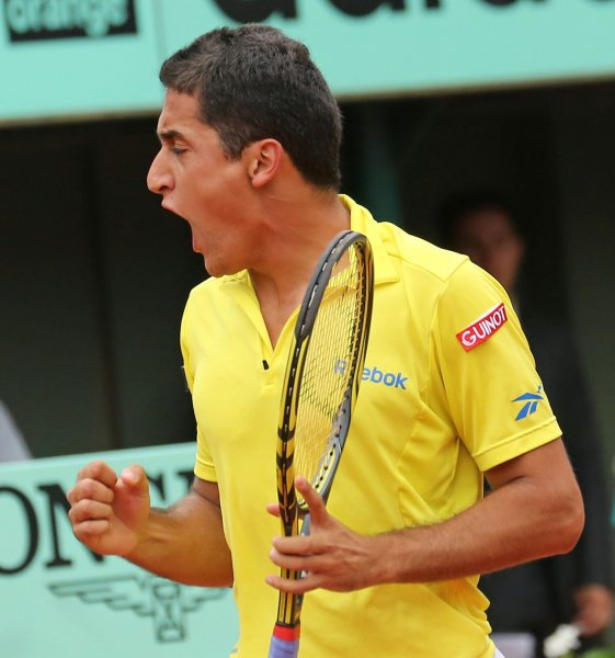 Spaniard Nicolas Almagro reacts after a shot during his French Open mens quarterfinal match against Spaniard Rafael Nadal at Roland Garros in Paris on June 6, 2012. Nadal defeated Almagro 7-6 (4), 6-2, 6-3 to advance to the semi-finals. UPI/David Silpa