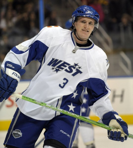 Dion Phaneuf, shown Jan. 27, 2008, with the West team in the NHL All-Star Game. (UPI Photo/Roger L. Wollenberg)