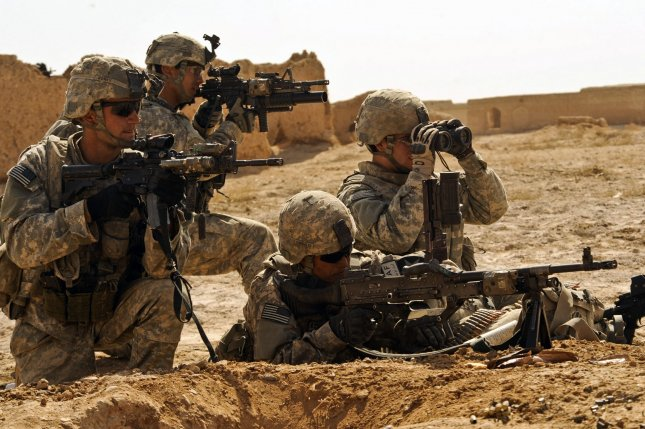 U.S. Soldiers engage enemy forces during Operation Moshtarak in Badula Qulp, Afghanistan on February 19, 2010. The International Security Assistance Force operation is an offensive mission being conducted in areas of Afghanistan prevalent in drug-trafficking and Taliban insurgency. UPI/Efren Lopez/U.S. Air Force