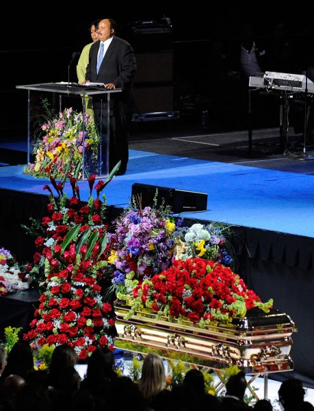 Bernice King and Martin Luther King III speak during the Michael Jackson memorial service at Staples Center in Los Angeles on July 7, 2009. The King of Pop died in Los Angeles on June 25 at age 50. (UPI Photo Photo/Kevork Djansezian/Pool)