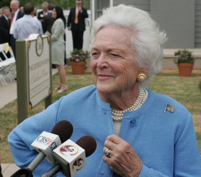 Former First Lady Barbara Bush in 2006. Bush turns 90 Monday, June 8. Photo by Ron Russek II/UPI