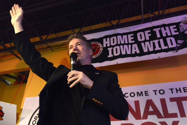 Sen. Rand Paul, R-Ky., Republican presidential candidate, makes remarks to supporters at his 53rd birthday party January 7 at Buzzard Billy's restaurant in Des Moines, Iowa. Paul's New Hampshire campaign office was robbed of several electronic devices. Photo by Mike Theiler/UPI
