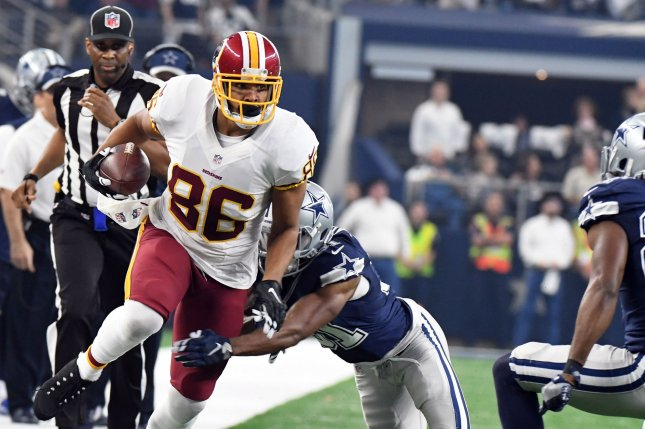 While he was listed on the NFL Week 14 injury report, Washington Redskins TE Jordan Reed will be active for this Sunday's game vs. the Philadelphia Eagles. Photo by Ian Halperin/UPI