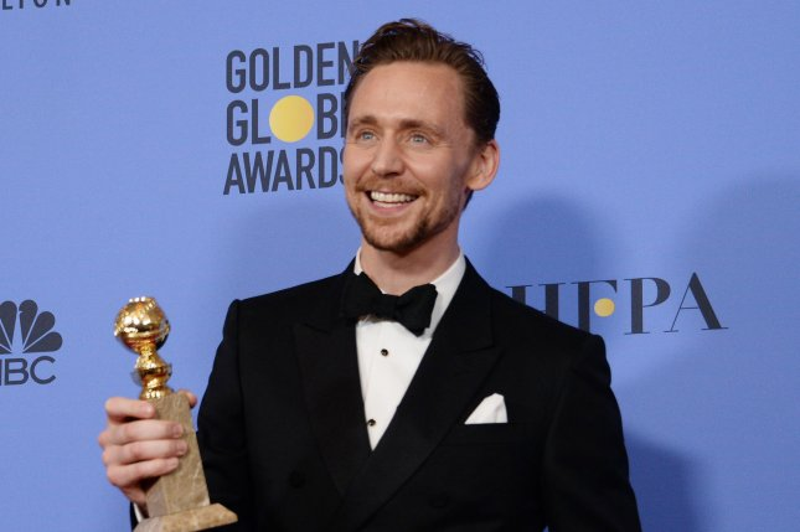 Tom Hiddleston at the Golden Globe Awards on January 8. File Photo by Jim Ruymen/UPI